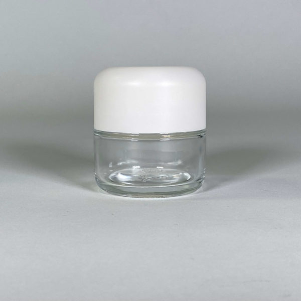 Jars for Cannabis Packaging, Clear Body White Top